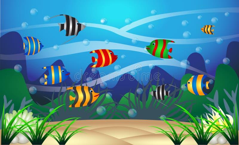 Debajo del agua en el mar ilustración del vector