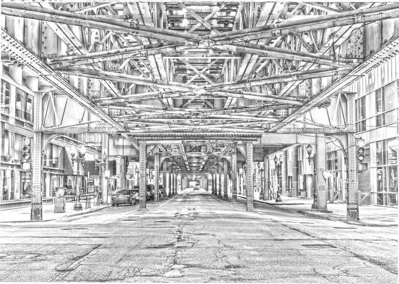 Debajo del L bosquejo del tren foto de archivo