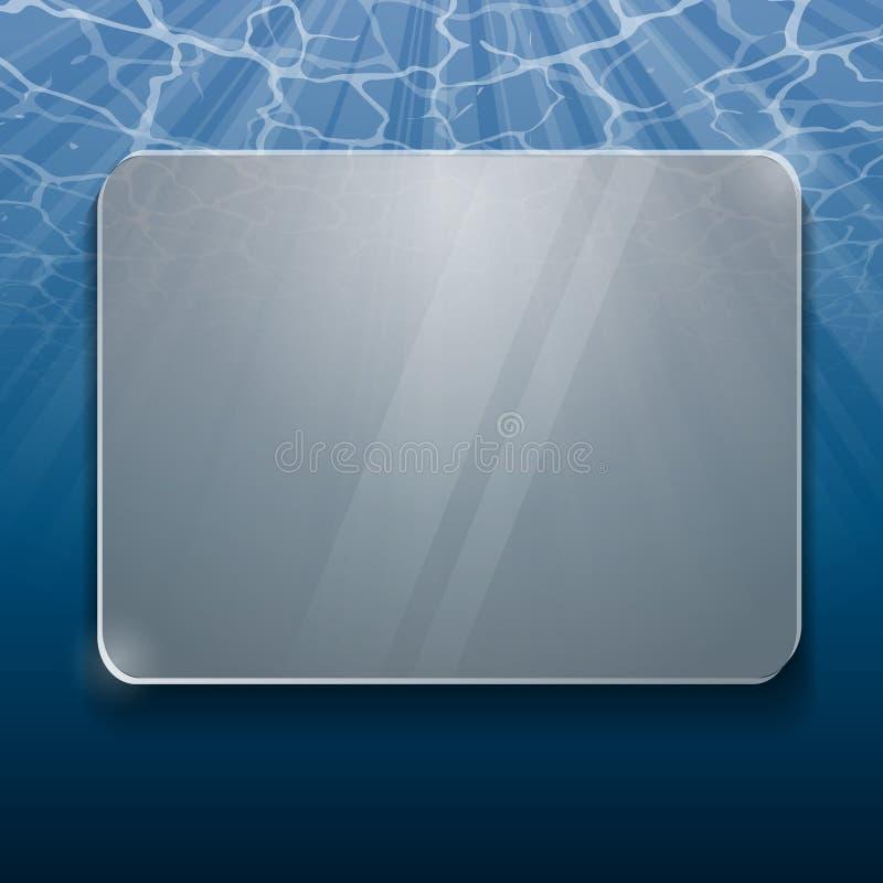 Debajo del panel del vidrio de agua stock de ilustración