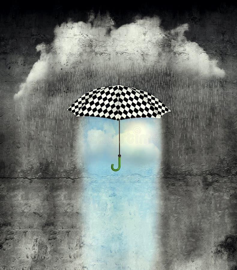 Debajo del paraguas el tiempo es maravilloso libre illustration