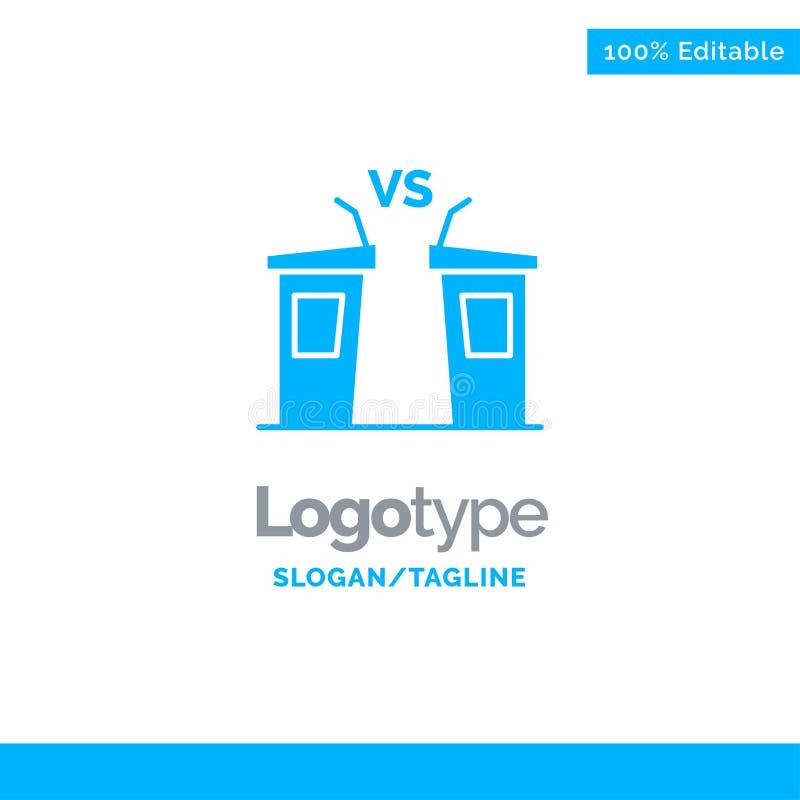 Debat, Democratie, Verkiezing, Politicus, Spreker Blauw Stevig Logo Template Plaats voor Tagline royalty-vrije illustratie