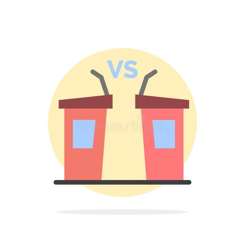 Debata, demokracja, wybory, polityk, Głośnikowego Abstrakcjonistycznego okręgu tła koloru Płaska ikona ilustracja wektor