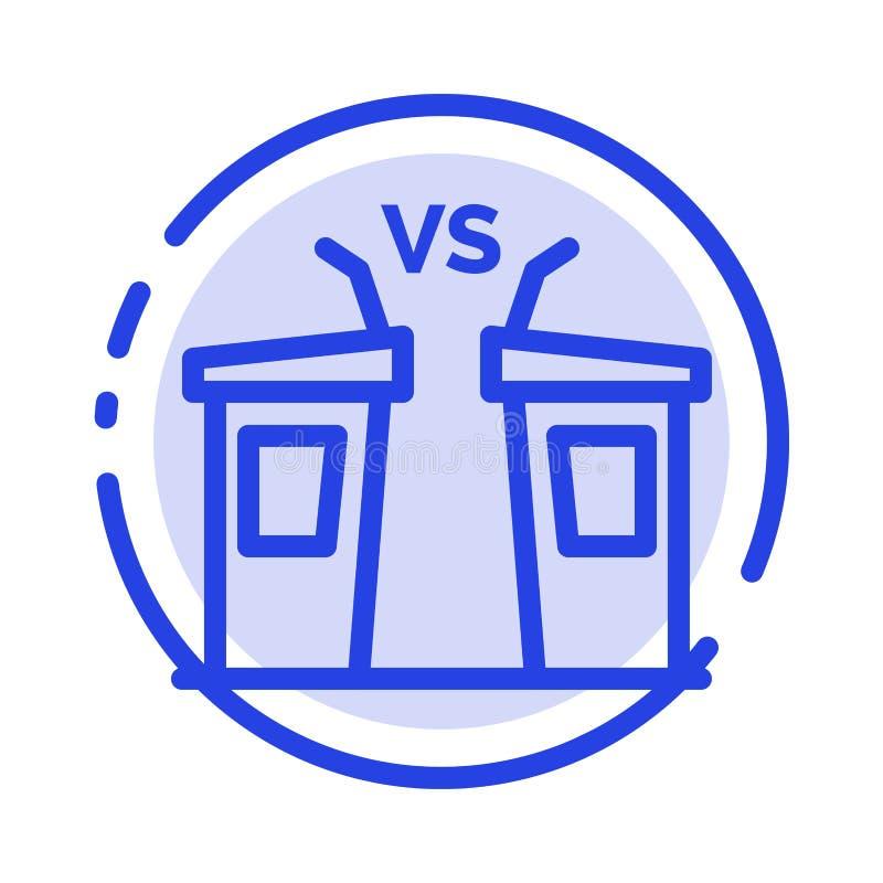 Debata, demokracja, wybory, polityk, Głośnikowy błękit Kropkująca linii linii ikona ilustracji