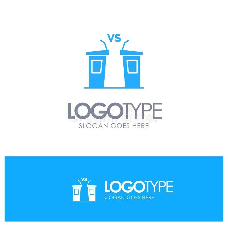 Debata, demokracja, wybory, polityk, Głośnikowy Błękitny Stały logo z miejscem dla tagline ilustracja wektor