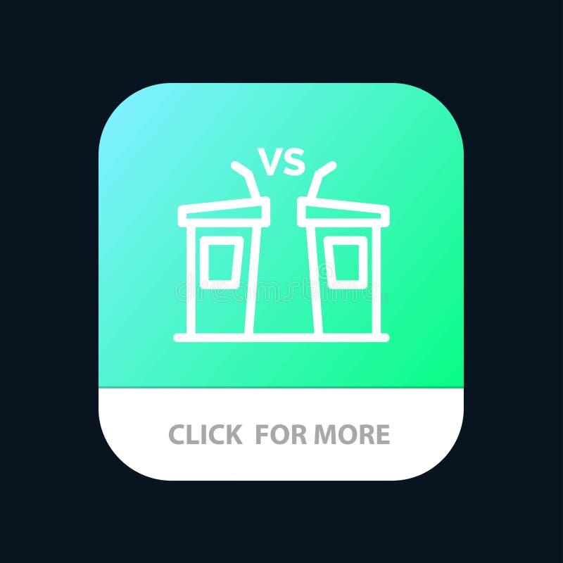 Debata, demokracja, wybory, polityk, Głośnikowy Mobilny App guzik Android i IOS linii wersja royalty ilustracja