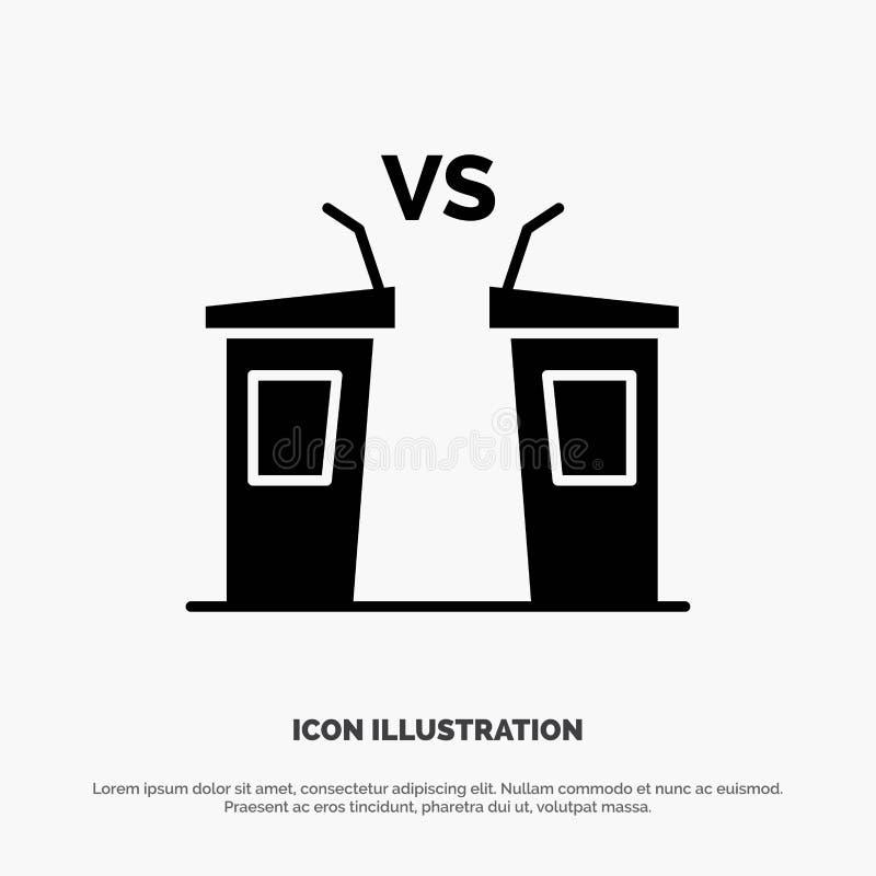 Debata, demokracja, wybory, polityk, Głośnikowy stały glif ikony wektor ilustracji