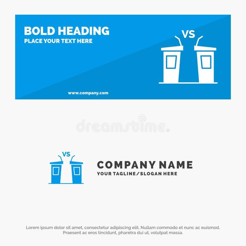Debata, demokracja, wybory, polityk, Głośnikowy stały ikony strony internetowej sztandar i biznesu logo szablon, ilustracja wektor