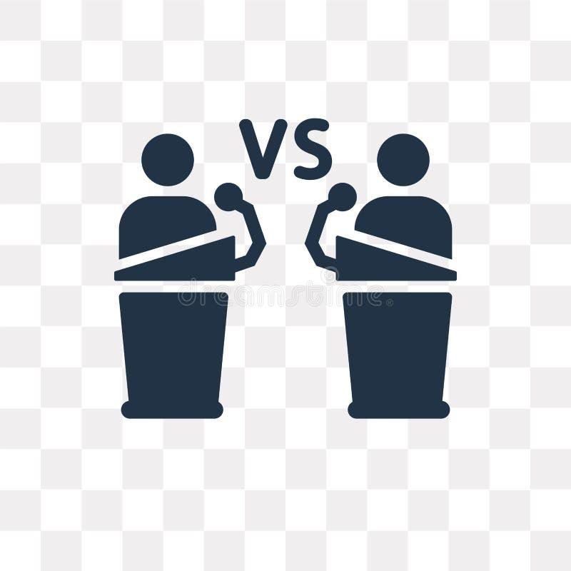 Debata o ícone do vetor isolado no fundo transparente, debate t ilustração stock