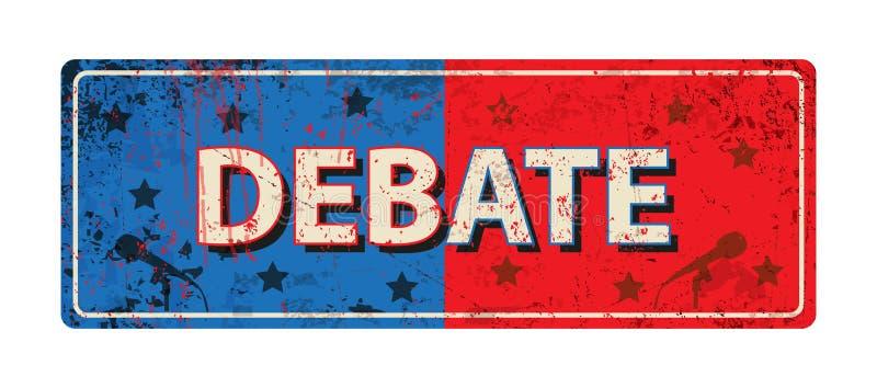 Debata - rocznika metalu ośniedziały znak - Wektorowa ilustracja ilustracja wektor