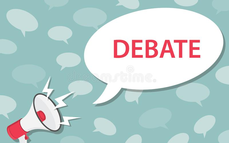 Debate concept with loudspeaker and megaphone and bubble speech text - vector. Illustration vector illustration