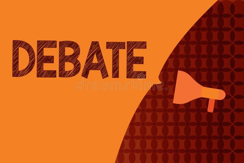 Debate da escrita do texto da escrita Discussão formal do significado do conceito no detalhe no encontro ou na assembleia legisla ilustração stock