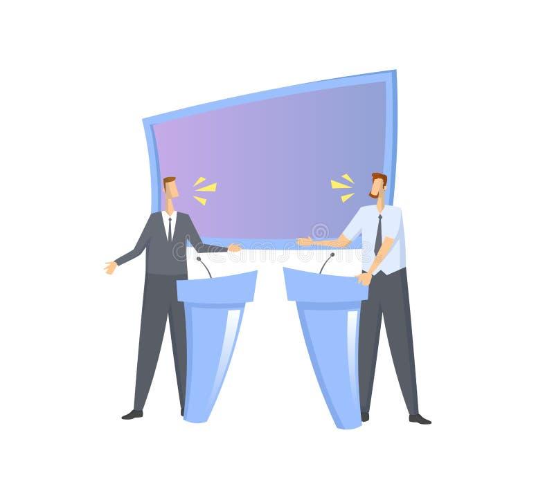 Debate de pré-eleição Dois candidatos que têm um argumento no estúdio com tela e suportes Vetor liso colorido ilustração royalty free