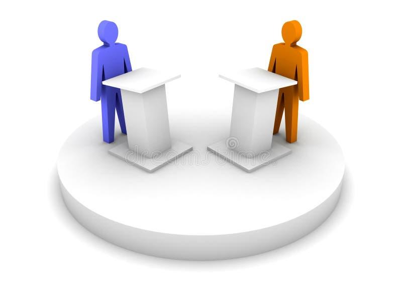 Debate. Discurso de uma tribuna. ilustração royalty free