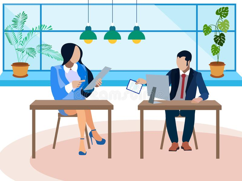 Debate, dispute in the office. Two opponents ask questions. In minimalist style. Flat isometric vector royalty free illustration