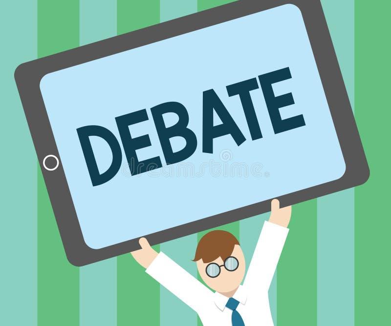 Debate do texto da escrita da palavra Conceito do negócio para a discussão formal no detalhe na reunião ou na assembleia legislat ilustração stock