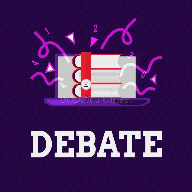 Debate do texto da escrita da palavra Conceito do negócio para a discussão formal no detalhe na reunião ou na assembleia legislat ilustração do vetor