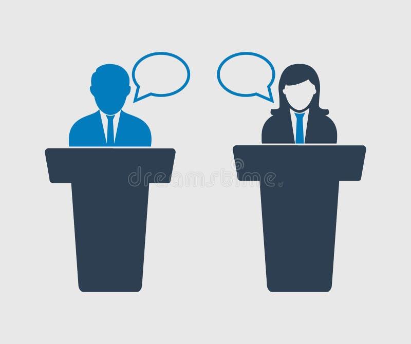 Debate entre o ícone masculino e fêmea ilustração royalty free