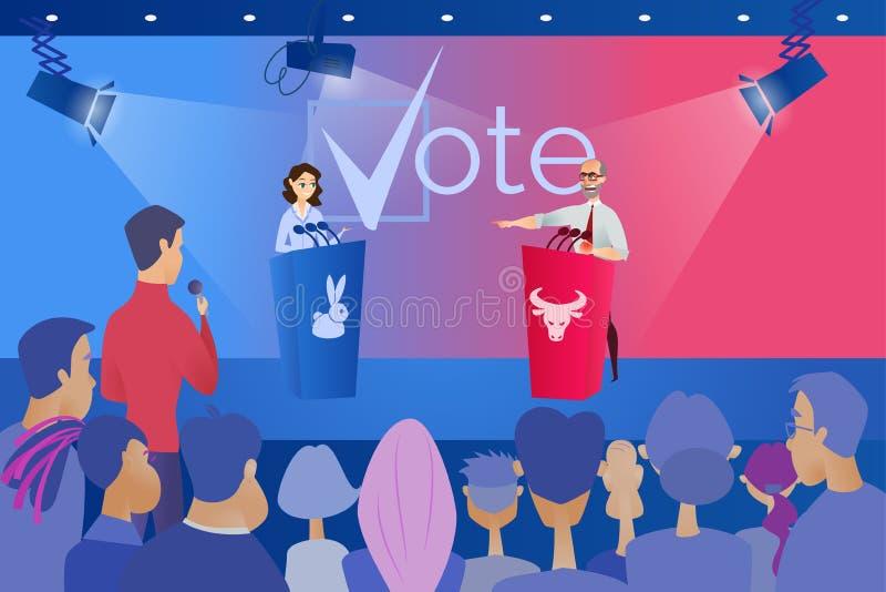 Debate político público antes do conceito do vetor do voto ilustração royalty free