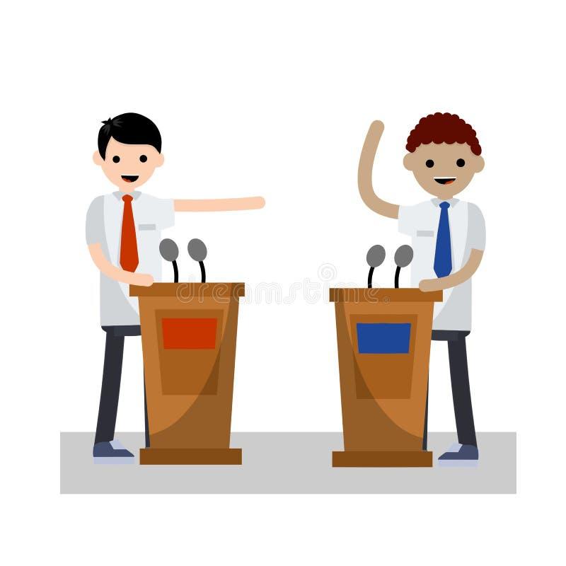 Debate presidencial Ilustração lisa dos desenhos animados ilustração do vetor