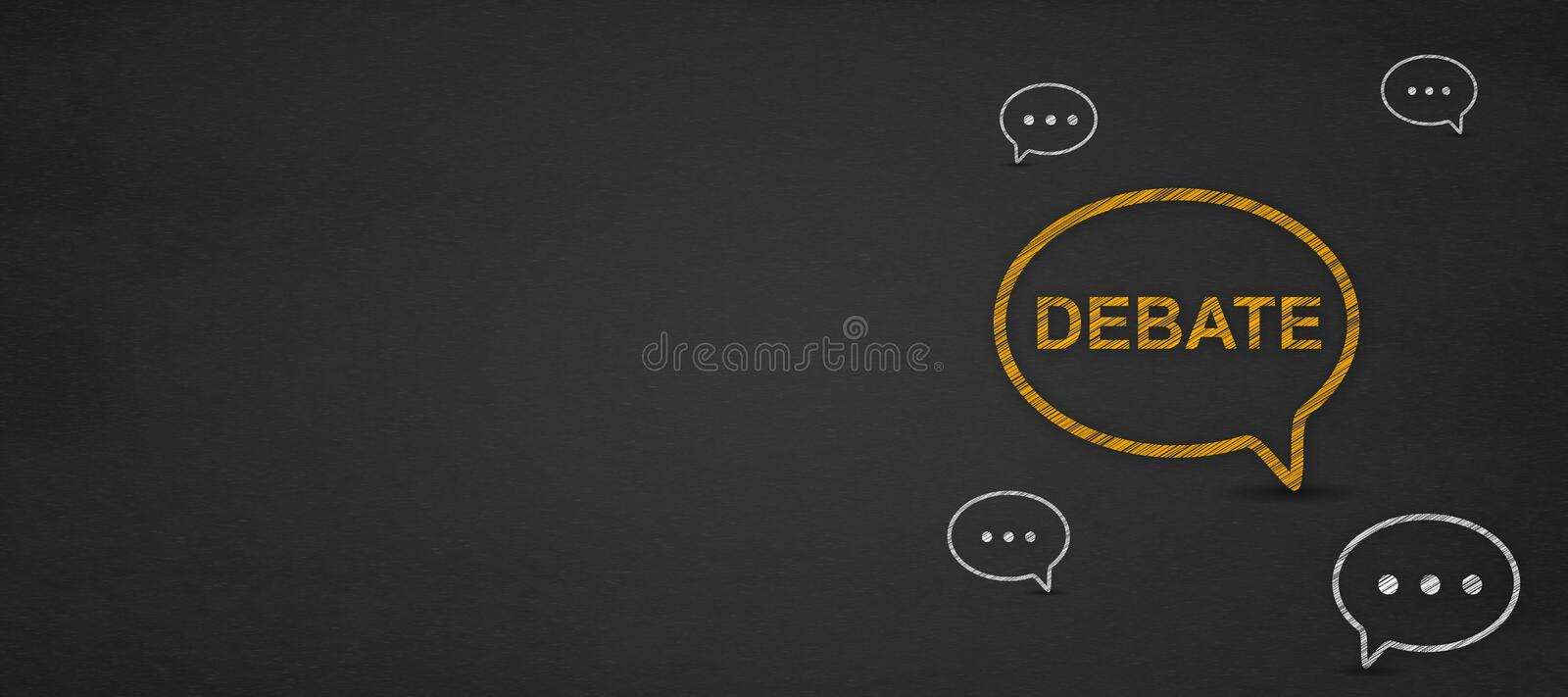 Debate word in speech bubble on a blackboard. Talking about political opinions. communication and education concept royalty free stock image