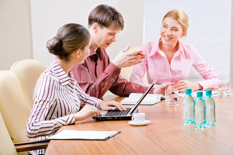 Debates. Image of business people discussing new ideas in the boardroom stock photography