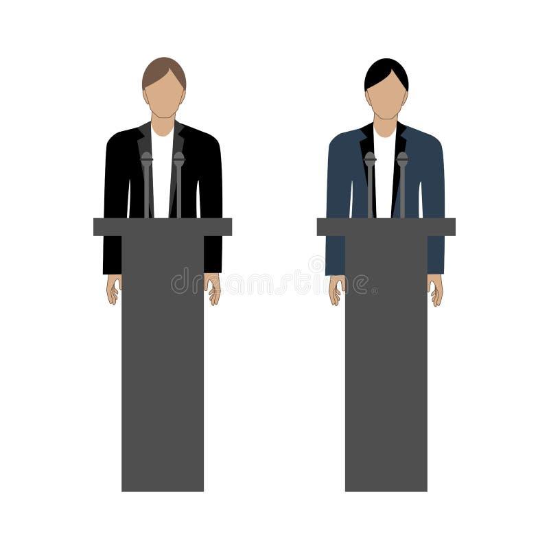 Debates de oponentes pol?ticos ilustração do vetor