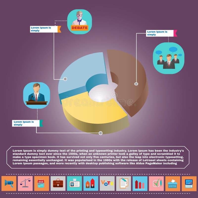 Debates presidenciais Infographic ilustração stock