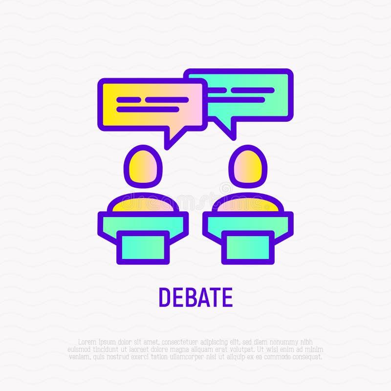 Debatpictogram: twee kandidaten die politiek bespreken vector illustratie