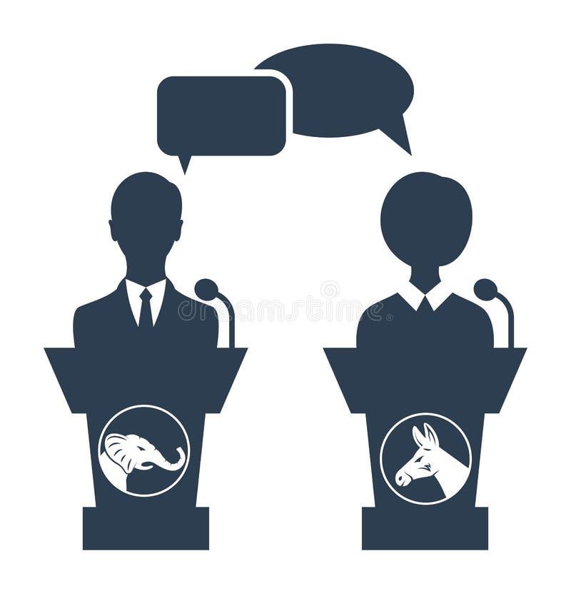 Debatt av republikanen vs demokrat stock illustrationer