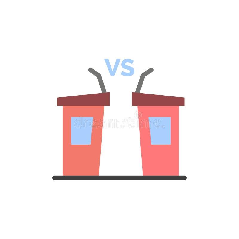 Debatt demokrati, val, politiker, plan färgsymbol för högtalare Mall för vektorsymbolsbaner vektor illustrationer