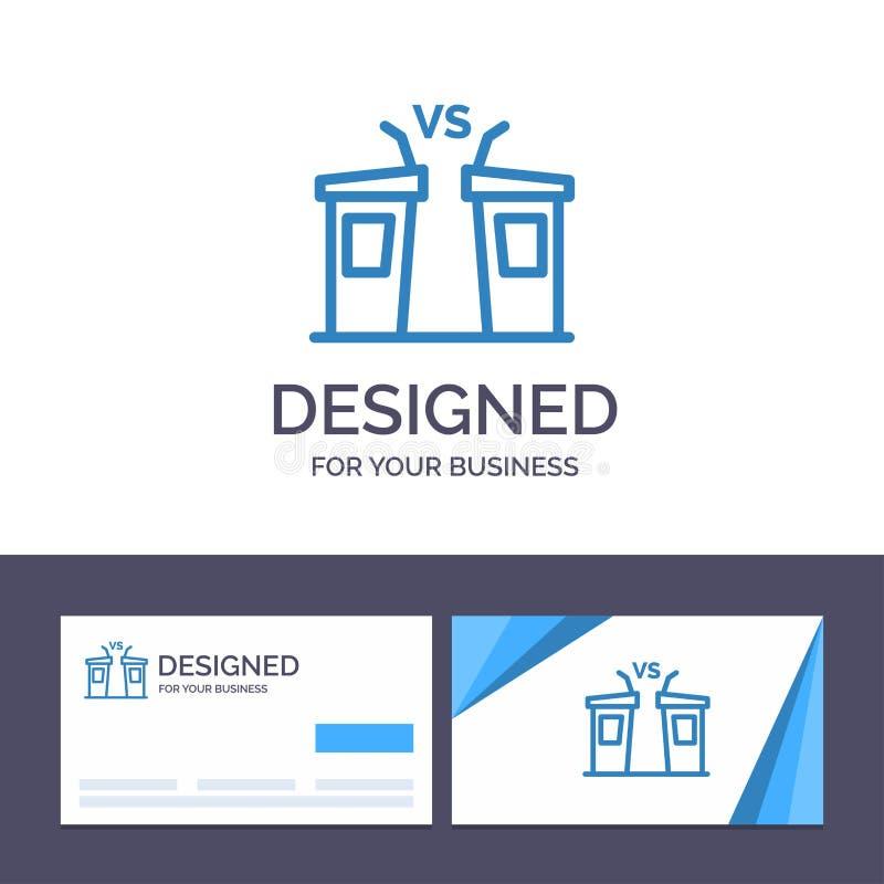 Debatt för idérik mall för affärskort och logo, demokrati, val, politiker, högtalarevektorillustration vektor illustrationer