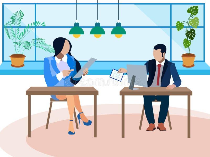 Debatt tvist i kontoret Två motståndare frågar frågor I minimalist stil Plan isometrisk vektor royaltyfri illustrationer