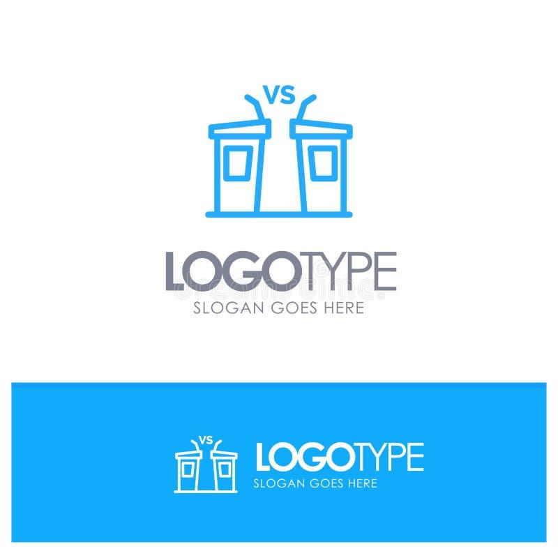 Debatte, Demokratie, Wahl, Politiker, blaues Logo Entwurf des Sprechers mit Platz für Tagline lizenzfreie abbildung