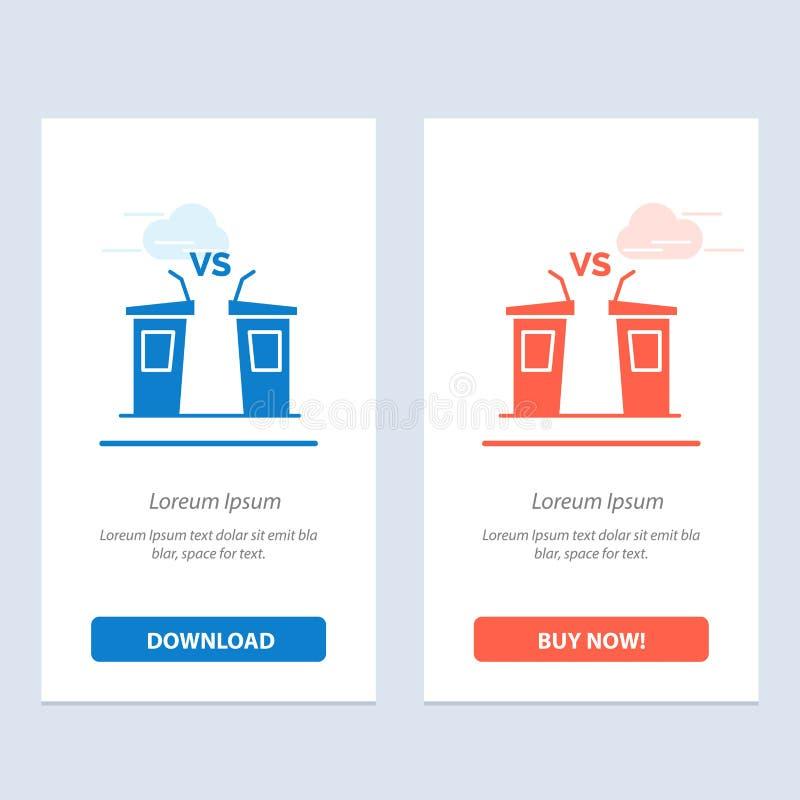 Debatte, Demokratie, Wahl, Politiker, Sprecher-Blau und rotes Download und Netz Widget-Karten-Schablone jetzt kaufen lizenzfreie abbildung