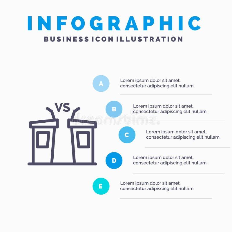 Debatte, Demokratie, Wahl, Politiker, Sprecher-Linie Ikone mit Hintergrund infographics Darstellung mit 5 Schritten stock abbildung
