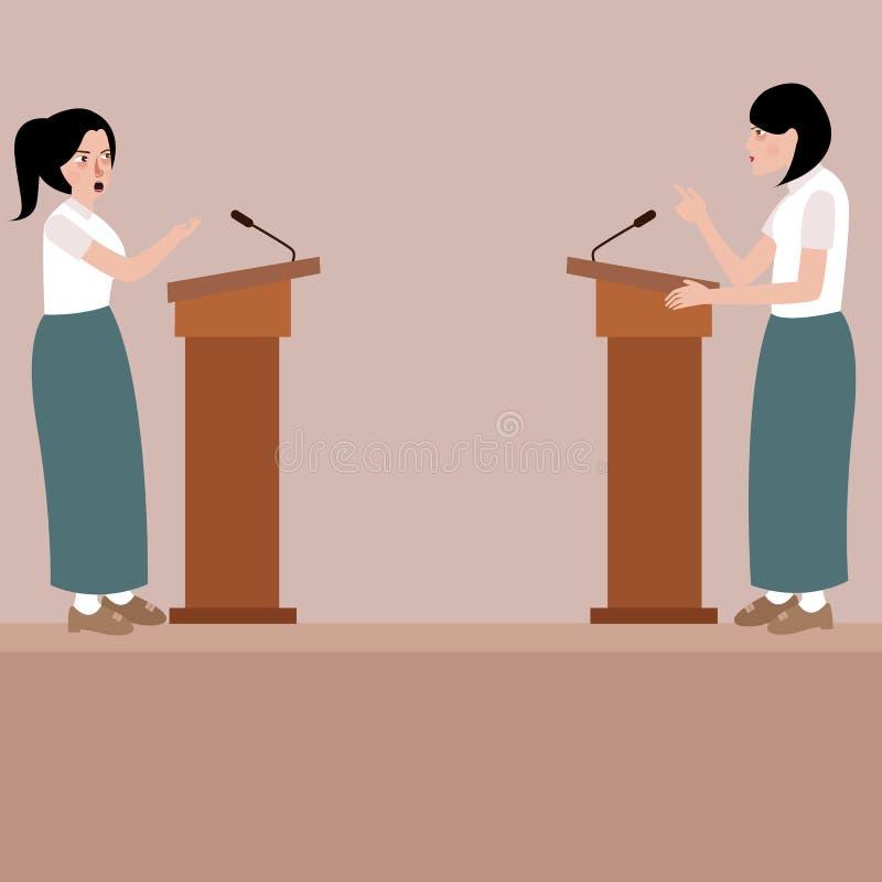 Debatte mit zwei Oberschülerinnen auf Wettbewerbdarstellung des öffentlichen Sprechens des Stadiumspodiums stock abbildung