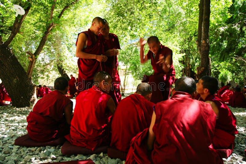 debattera monks royaltyfria bilder
