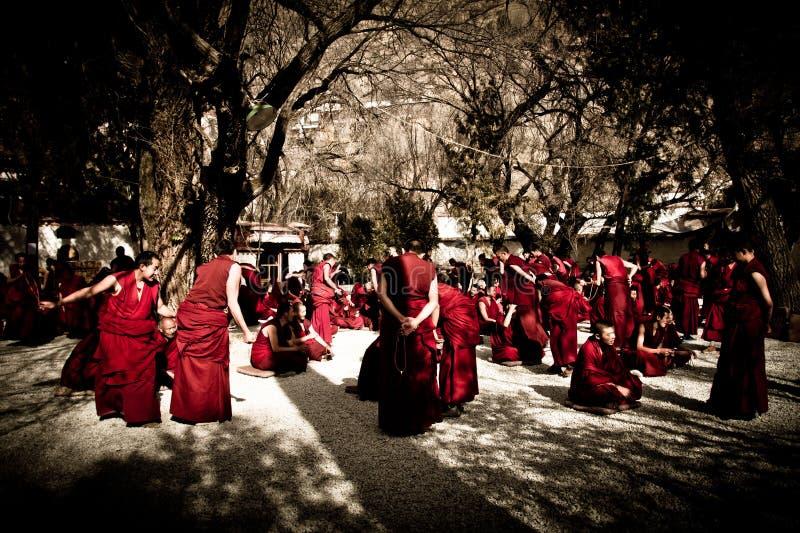 Debattera munkar av serum kloster, Lhasa, Tibet royaltyfria foton