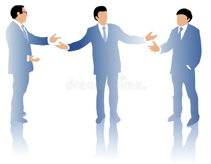 Debattieren mit drei Geschäftsleuten vektor abbildung