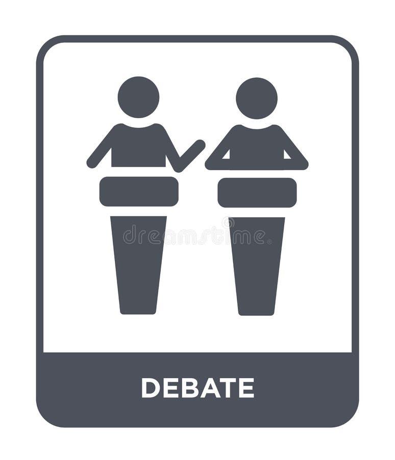 debattsymbol i moderiktig designstil debattsymbol som isoleras på vit bakgrund enkelt och modernt plant symbol för debattvektorsy stock illustrationer