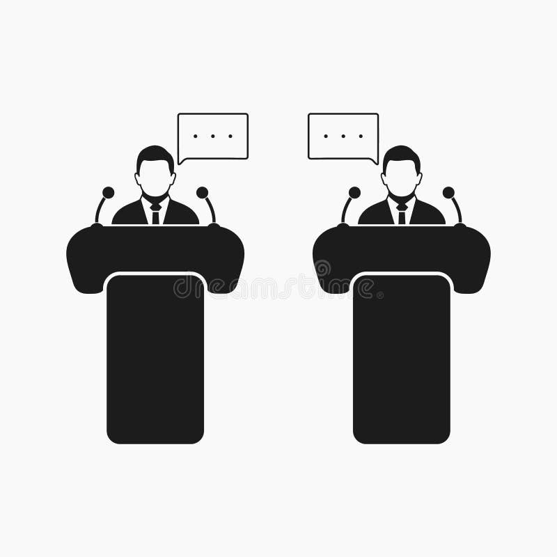 Debattsymbol Plan stilvektor stock illustrationer