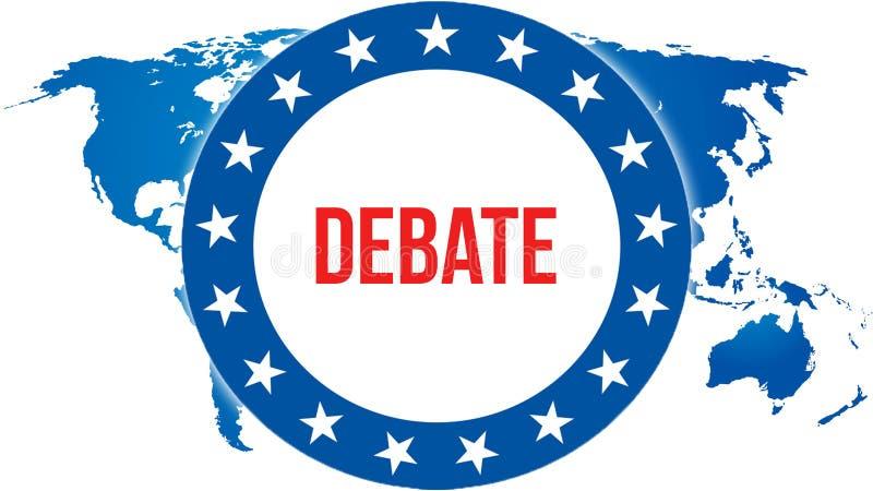 Debattval på en världsbakgrund, tolkning 3D Världslandsöversikt som begrepp för politisk bakgrund Rösta frihetsdemokrati stock illustrationer