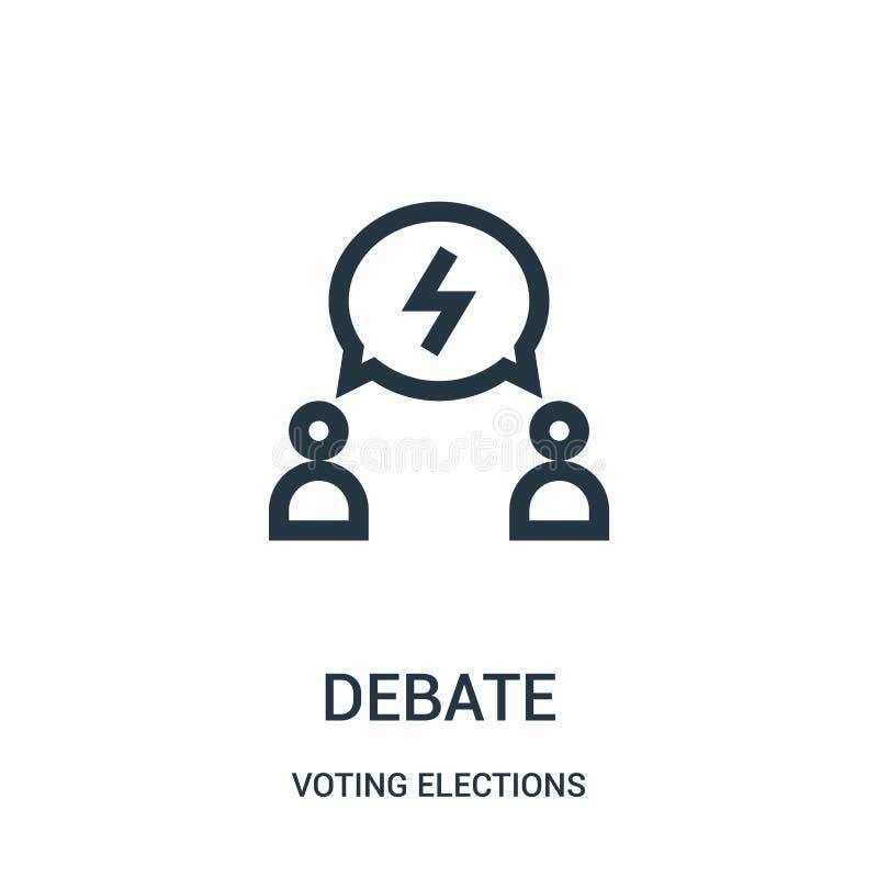 debaty ikony wektor od głosować wybory inkasowych Cienka kreskowa debata konturu ikony wektoru ilustracja royalty ilustracja