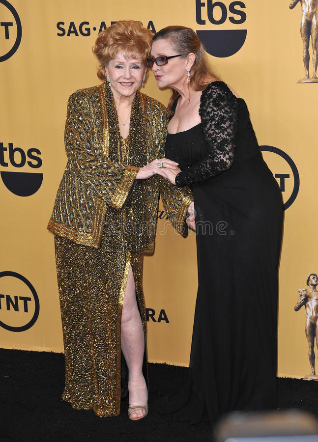 Debbie Reynolds & Carrie Fisher. LOS ANGELES, CA - JANUARY 25, 2015: Debbie Reynolds & daughter Carrie Fisher at the 2015 Screen Actors Guild Awards at the stock image