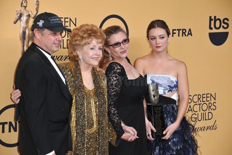 Debbie Reynolds et Carrie Fisher et Todd Fisher et Billie Lourd photos libres de droits