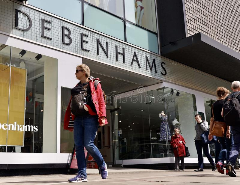 Debenhams flagship store in oxford street, London. Debenhams is a British multinational retailer operating under a department store format in the United Kingdom royalty free stock photo