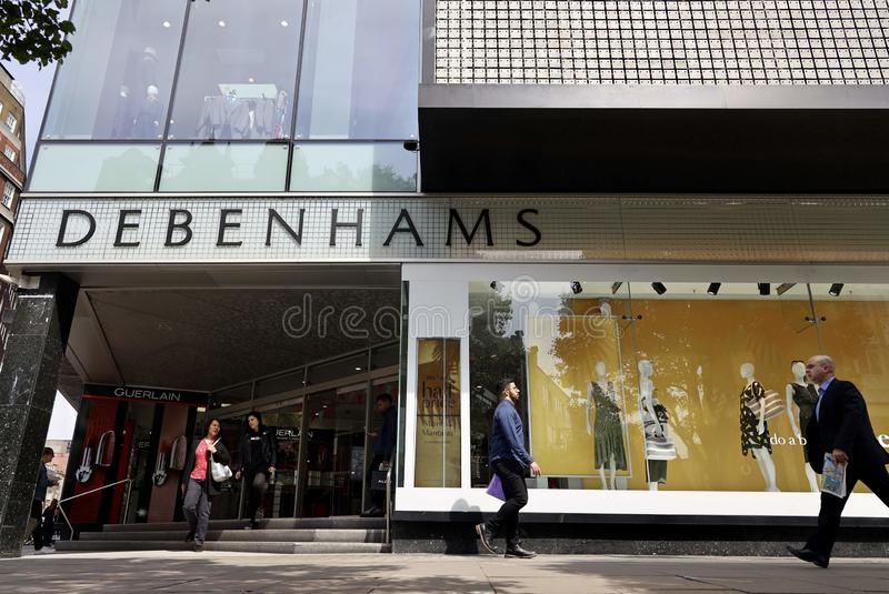 Debenhams flagship store in oxford street, London. Debenhams is a British multinational retailer operating under a department store format in the United Kingdom stock images