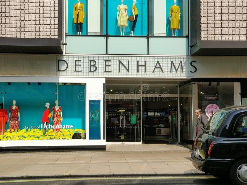 Debenhams cade nell'amministrazione fotografia stock libera da diritti