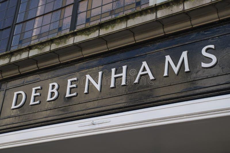 Debenhams Department Store Sign. CANTERBURY, UK - FEBRUARY 13TH 2017: A sign for the Debenhams department store in the city of Canterbury in the UK, on 13th stock image
