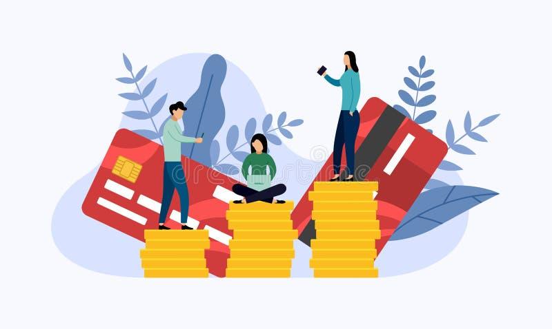 Debet of creditcardbetaling stock illustratie